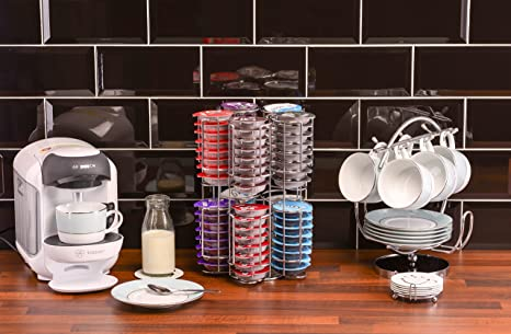Amazon.com: Tassimo Pod Holder Stores 80 Pods including Larger Milk Pods Rotating Base Unbeatable Quality Guaranteed Babavoom T80: Home & Kitchen