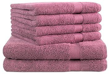 BETZ Juego de 6 Toallas Premium 100% algodón 2 Toallas de baño 4 Toallas de Lavabo Color Rosa: Amazon.es: Hogar