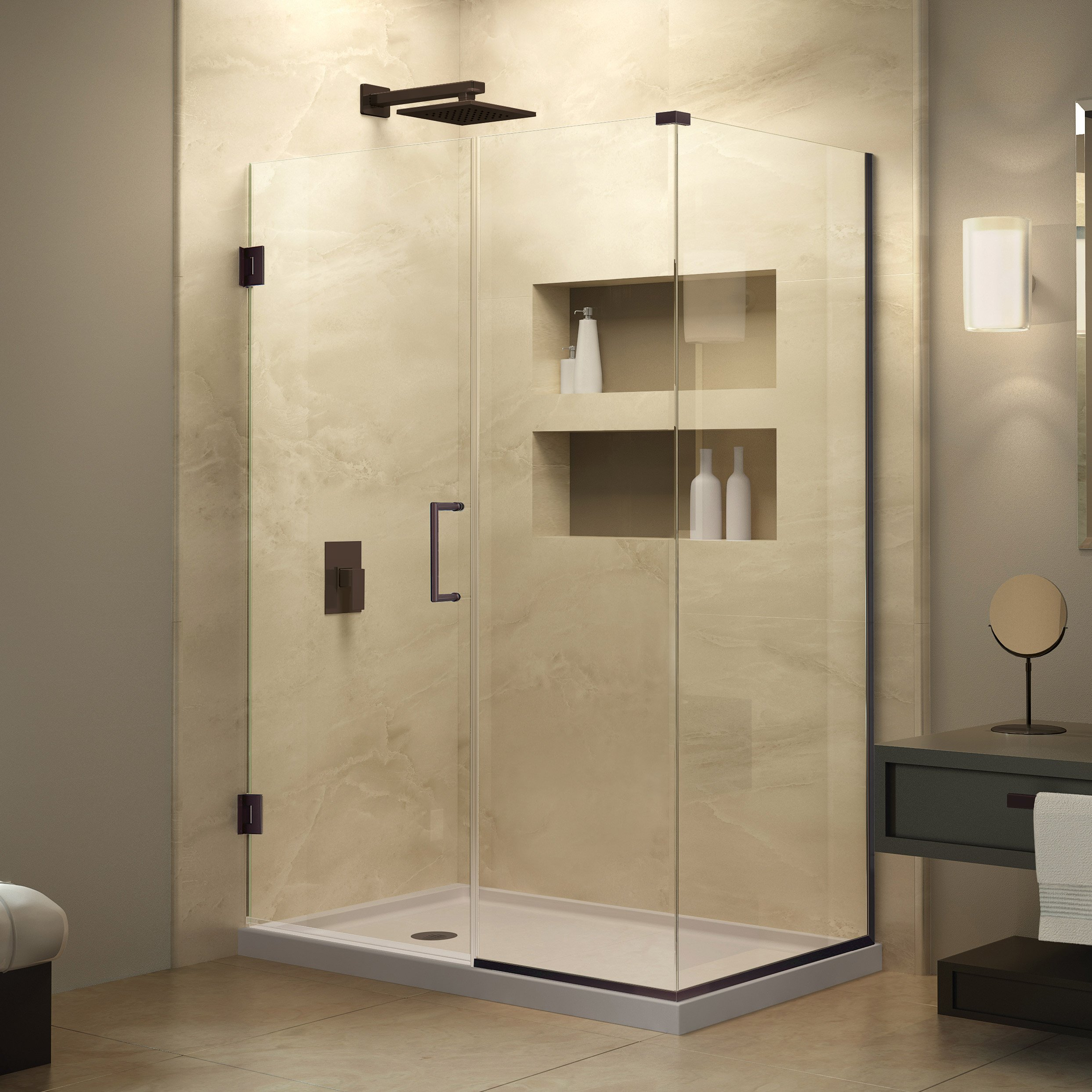 DreamLine Unidoor Plus 34 3/8 in. D x 35 in. W, Frameless Hinged Shower Enclosure, 3/8'' Glass, Oil Rubbed Bronze Finish