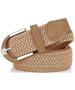 Mio Marino Elastic Belt for Men and Women - Woven Stretch Belt - Gift Box (Antelope Beige,S)