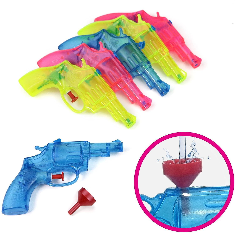 Eau Guns Jeu de 6 en trois couleurs transparentes - le plaisir arrosée de fête pour tous les âges !!! (Jeu de 6 + trémie) Royally .