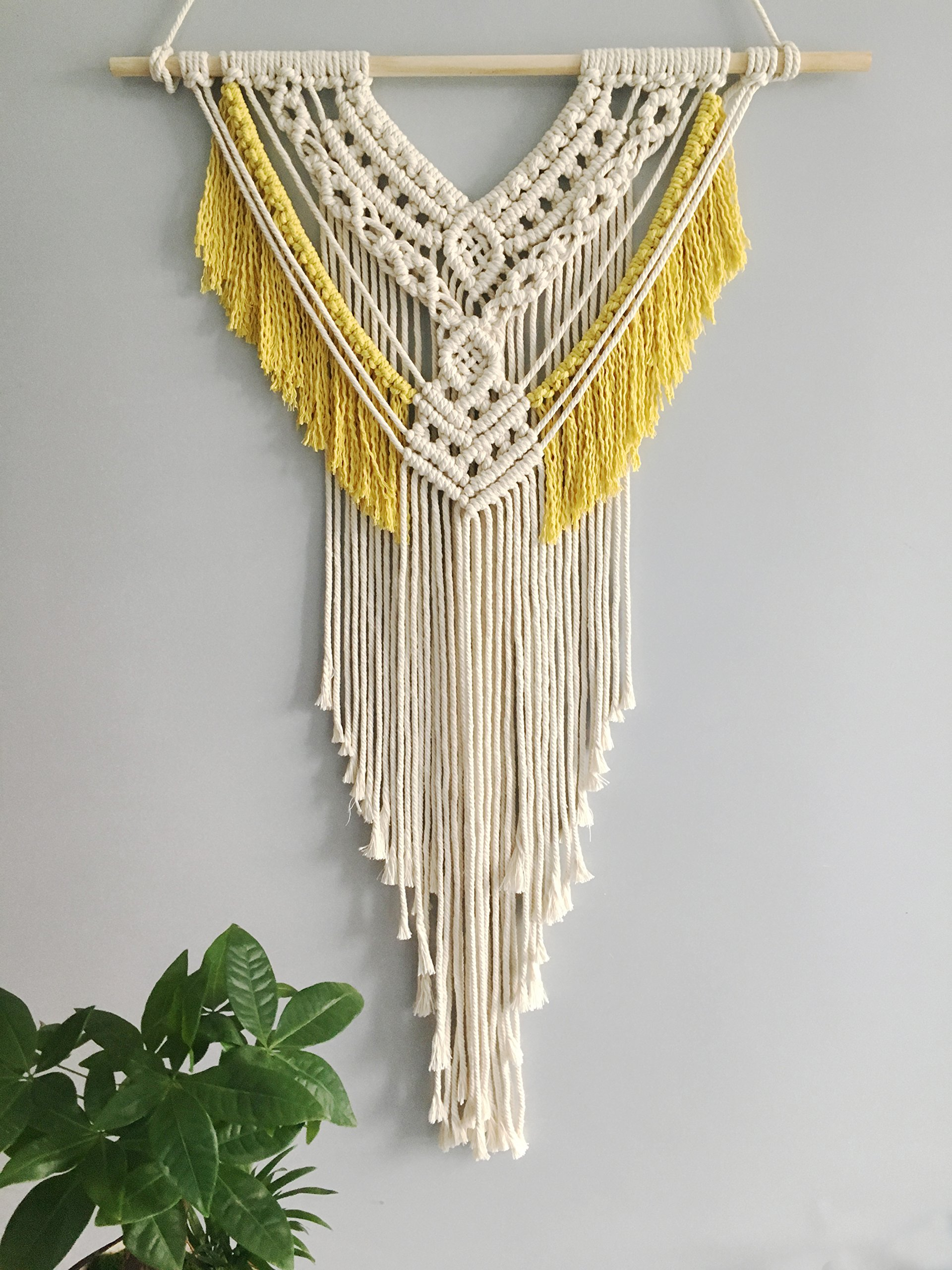 Youngeast 100% Handmade Boho Macrame Wall Hanging Home Décor, Yellow&Beige