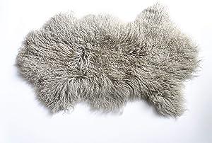 February Snow Deluxe Home Decorative Curly Fur Soft Plush 100% Real Genuine Mongolian (Tibetan) Lamb Wool Rug/Carpet/ (Grey)