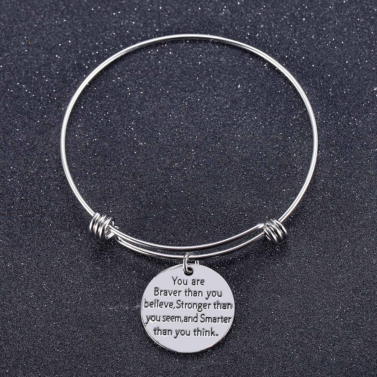 You Are Braver Than You Believe Stronger Than You Seem and Smarter Than You Think Bangle Bracelet Gift