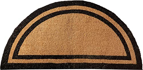 Kempf Half Round Black Borderer Coco Mat in Two Sizes 36 X 72