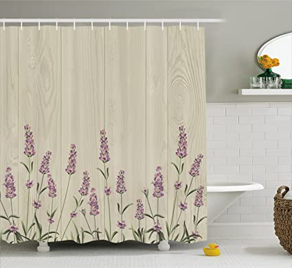 Amazon.com: Ambesonne Lavender Shower Curtain by, Aromatic Herbs on ...