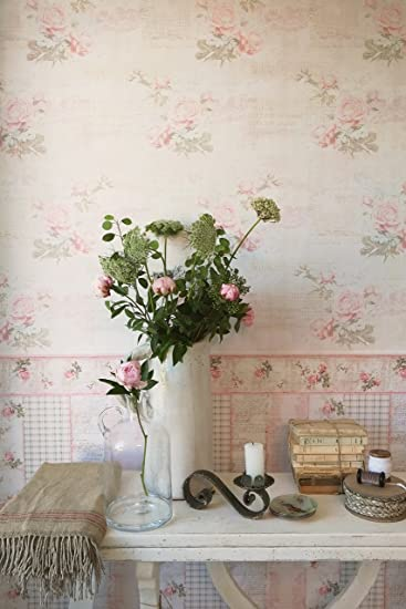 Borte Landhaus Blumen rosa beige Bordüre livingwalls Djooz 95665-1 956651 16,85