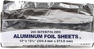 Pre Cut Pop Up Premium Aluminum Silver Foil Sheets 200 Count, 12