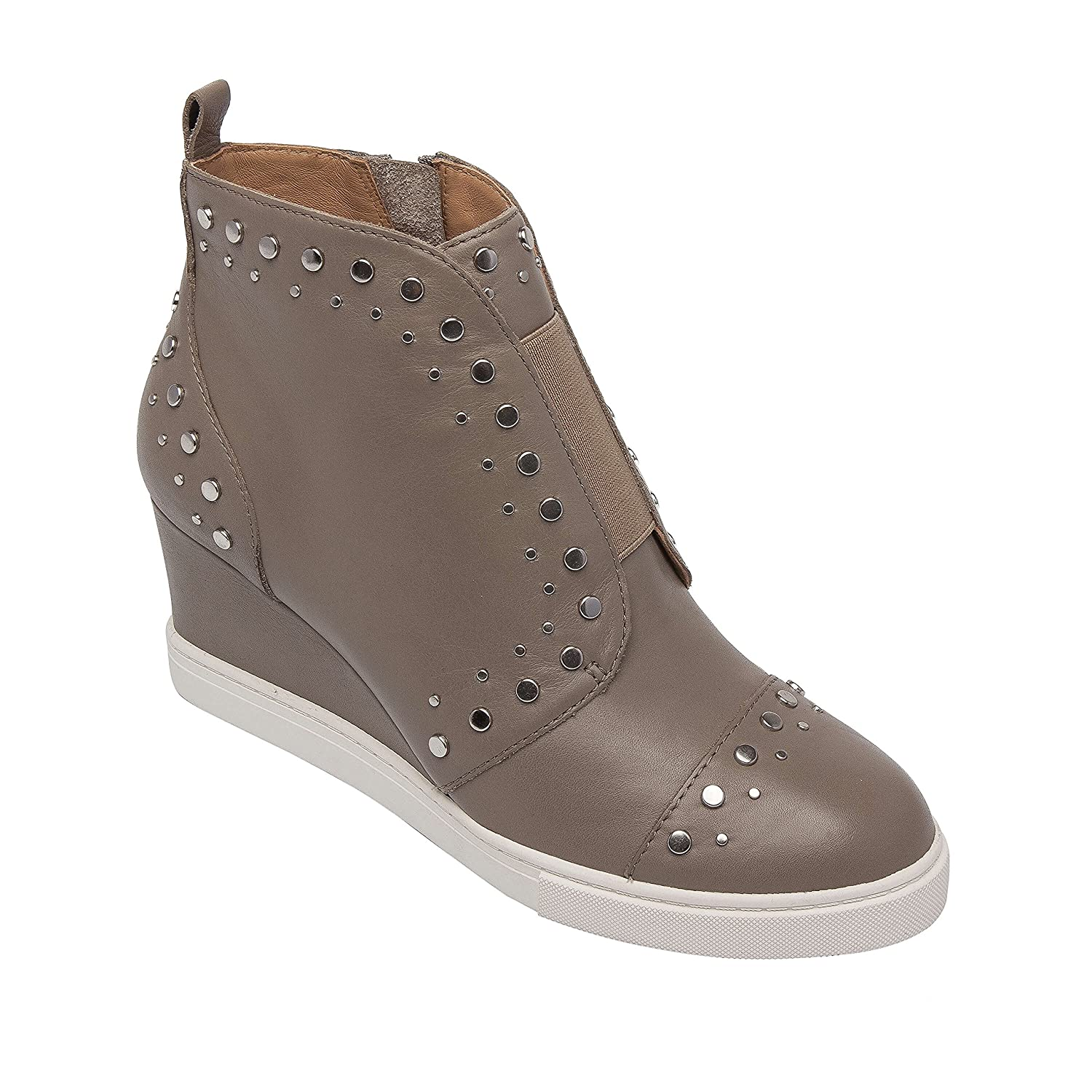 Felicity | Micro Stud Embellished Leather Fashion Wedge Sneaker Bootie B07C8MZVVW 6.5 M US|Grey Leather