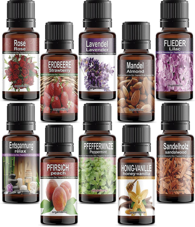10 Botellas Aceites Perfumados© con Aceites Esenciales Puros en Caja de Regalo ORGANITERRA. (REF71) .Paquete de AROMAS VARIADOS - NO SON LOS DE LA FOTOGRAFIA.