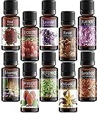 10 Huiles Essentielles Parfumées© pour l'aromathérapie en boîte-cadeau. Organiterra. Rose, Lavande, Santal, Sweet Vanilla, Relax, Lilas, Pêche, Menthe, Fraise, Amande