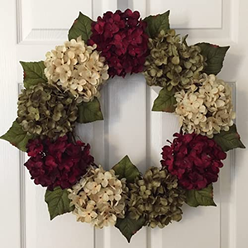 Christmas Hydrangea Wreath   Winter Wreath For Front Door   Holiday Hydrangea  Wreath   Christmas Door