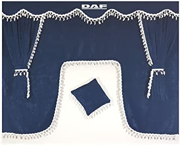 5/pezzi set blu tende con bianco bommeln misura universale alle Modelle Truck Camion di decorazione interna Tende peluche