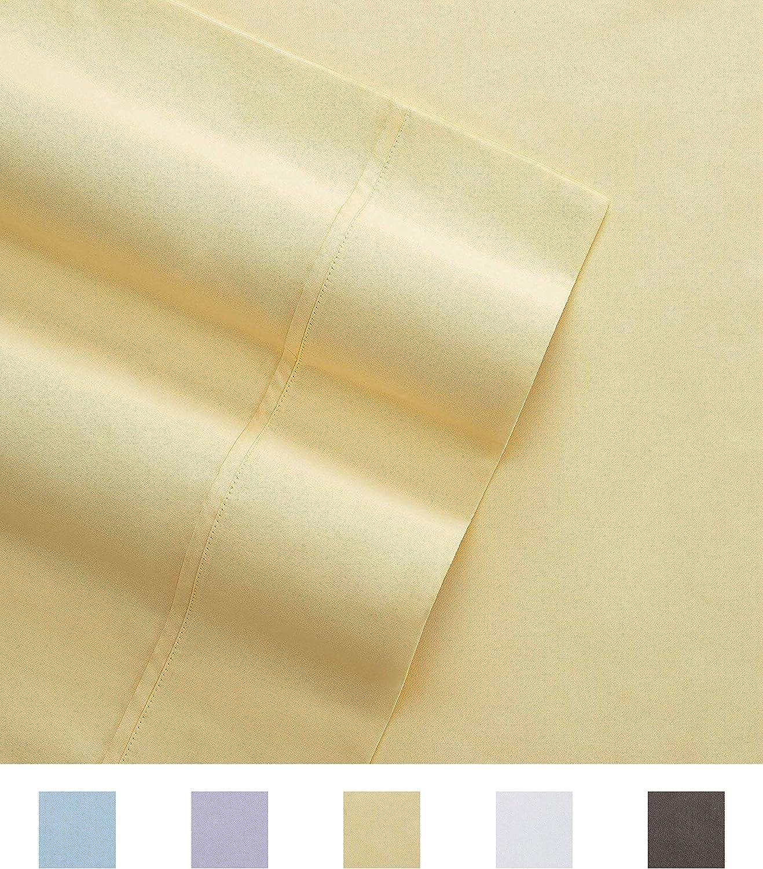 Columbia Organic Cotton Sateen Weave Performance Sheet Set – 300TC with Omni-Wick Moisture Wicking Stay Dry Technology - 100% GOTS Certified Organic Cotton – Cal King 4-Piece Sheet Set, Yellow
