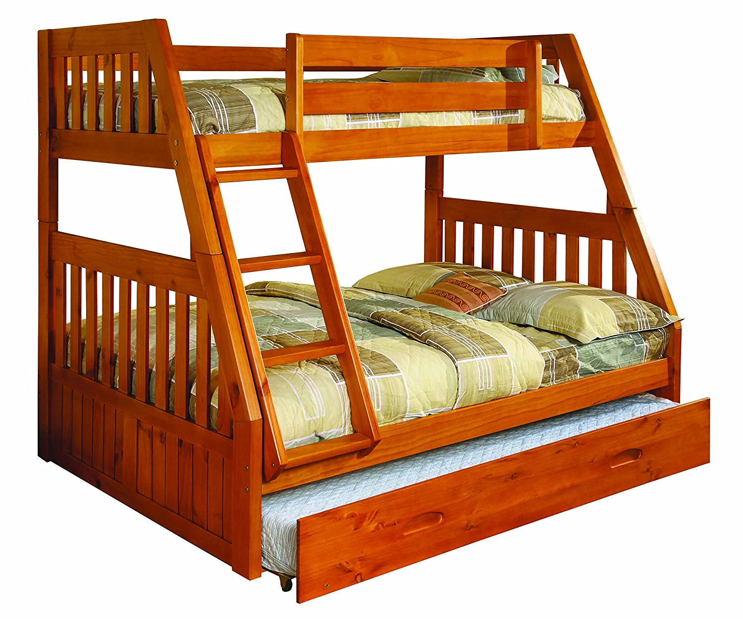 Toddler bunk beds and loft beds browse read reviews discover - Amazon Com Discovery World Furniture Twin Over Full Bunk Bed With Twin Trundle Honey Kitchen Dining