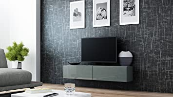 High Gloss Tv Stand Cabinet Wall Mountable Floating Amazoncouk