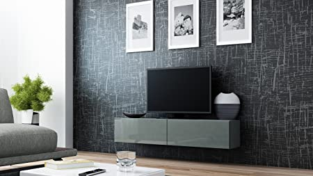 Migo TV Shelf / Cabinet / Wall Unit Grau Matt /Grau Hochglanz