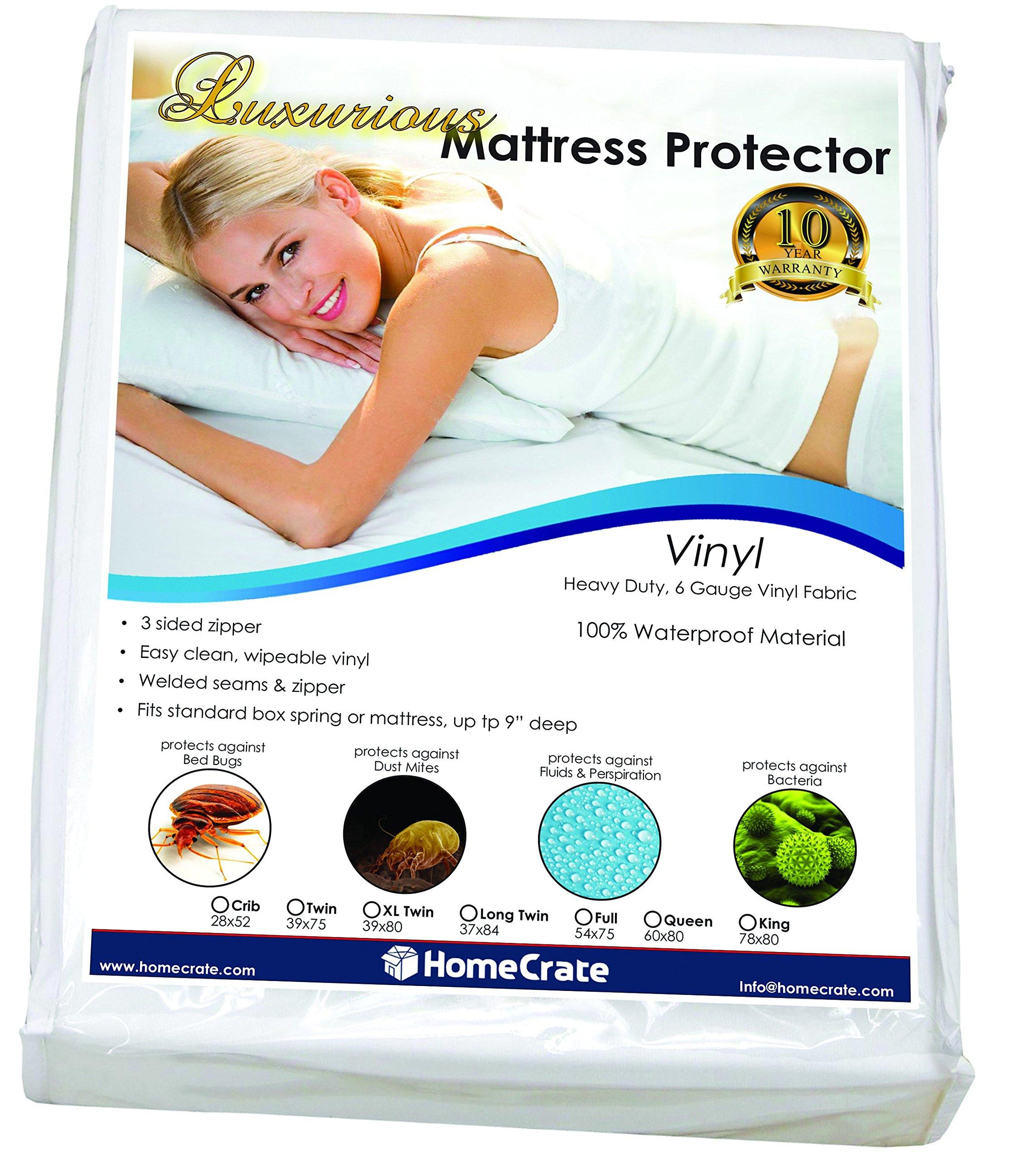 HomeCrate Natural Sleep Defence - Heavy Duty Deluxe Waterproof/Bed Bug Proof Vinyl 78'' 80'' King, Mattress Encasement
