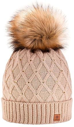 205a7e3041b MFAZ Morefaz Ltd Women Ladies Winter Beanie Hat Knitted Crystals Faux Fur  Pom Pom (Beige