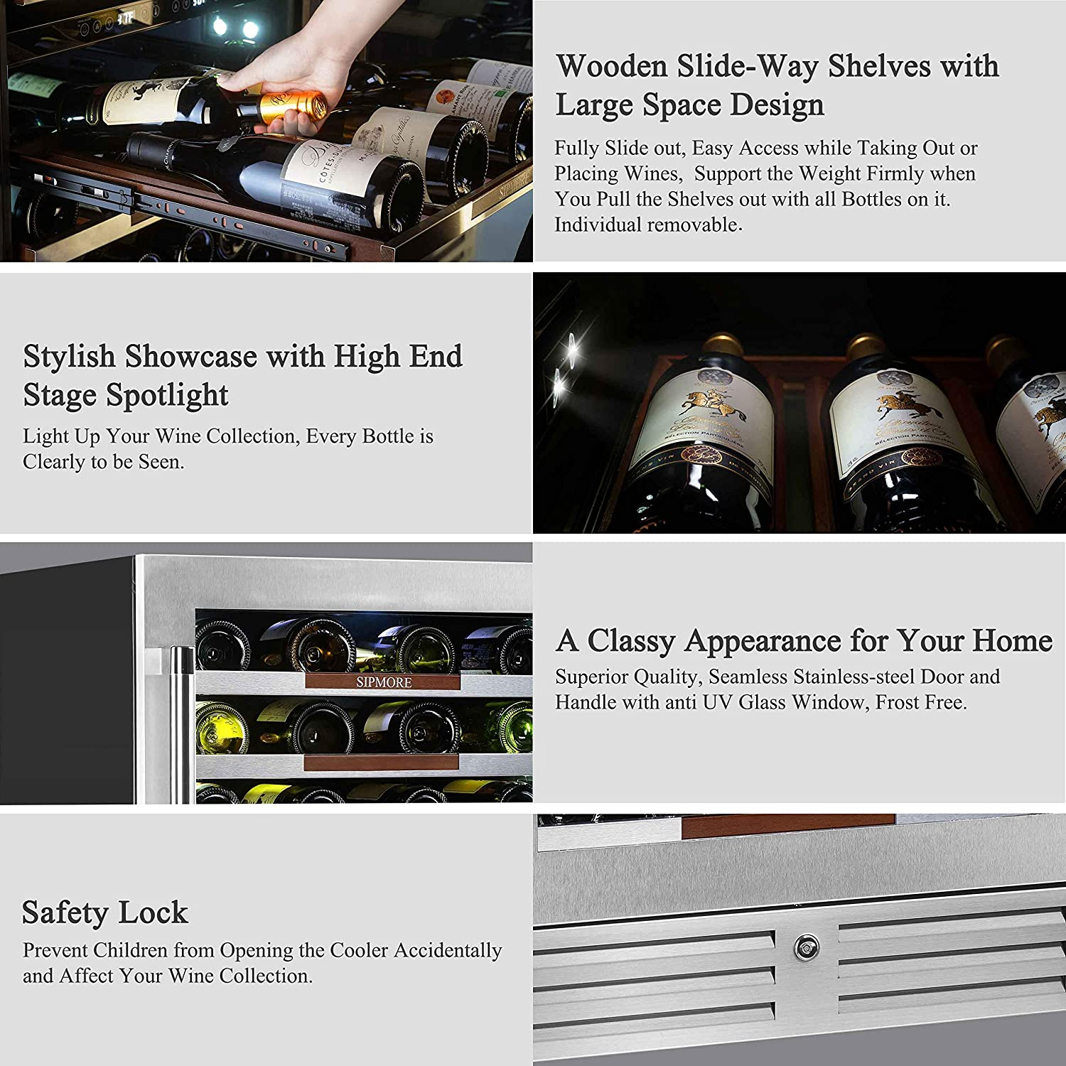 Sipmore 24 Wine Cooler Refrigerator 44 Various Bottle Built-in or Freestanding Single Zone with Seamless Stainless Steel and Smart Temperature Stabilize System with Stage LED Design