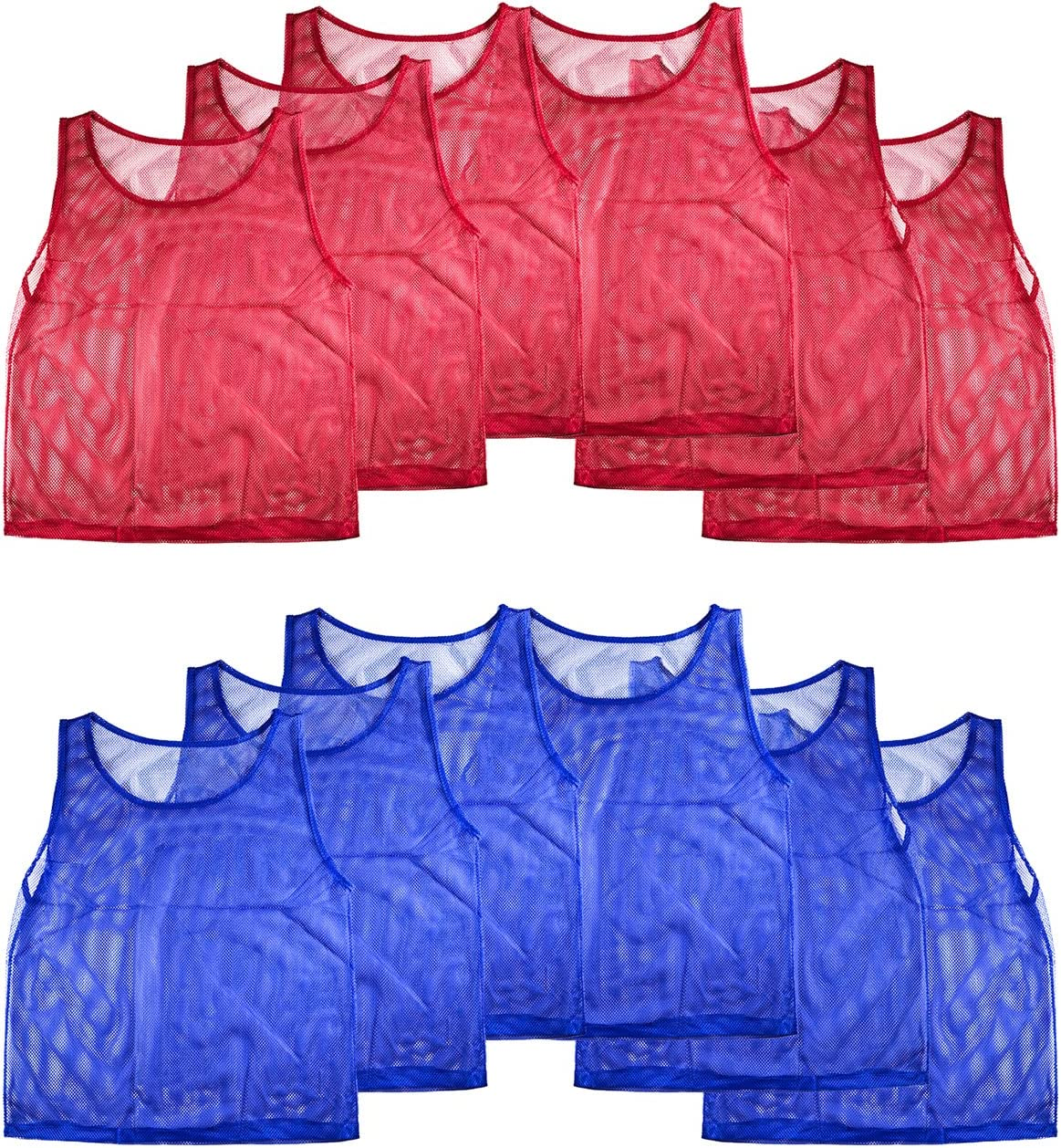 Super Z Outlet Nylon Mesh Scrimmage Team Practice Vests Pinnies Jerseys for Children Youth Sports Basketball, Soccer, Football(12 Jerseys)
