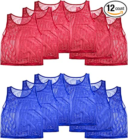 12 Nylon Mesh Scrimmage Team Practice Vests Pinnies Jerseys for Children Youth