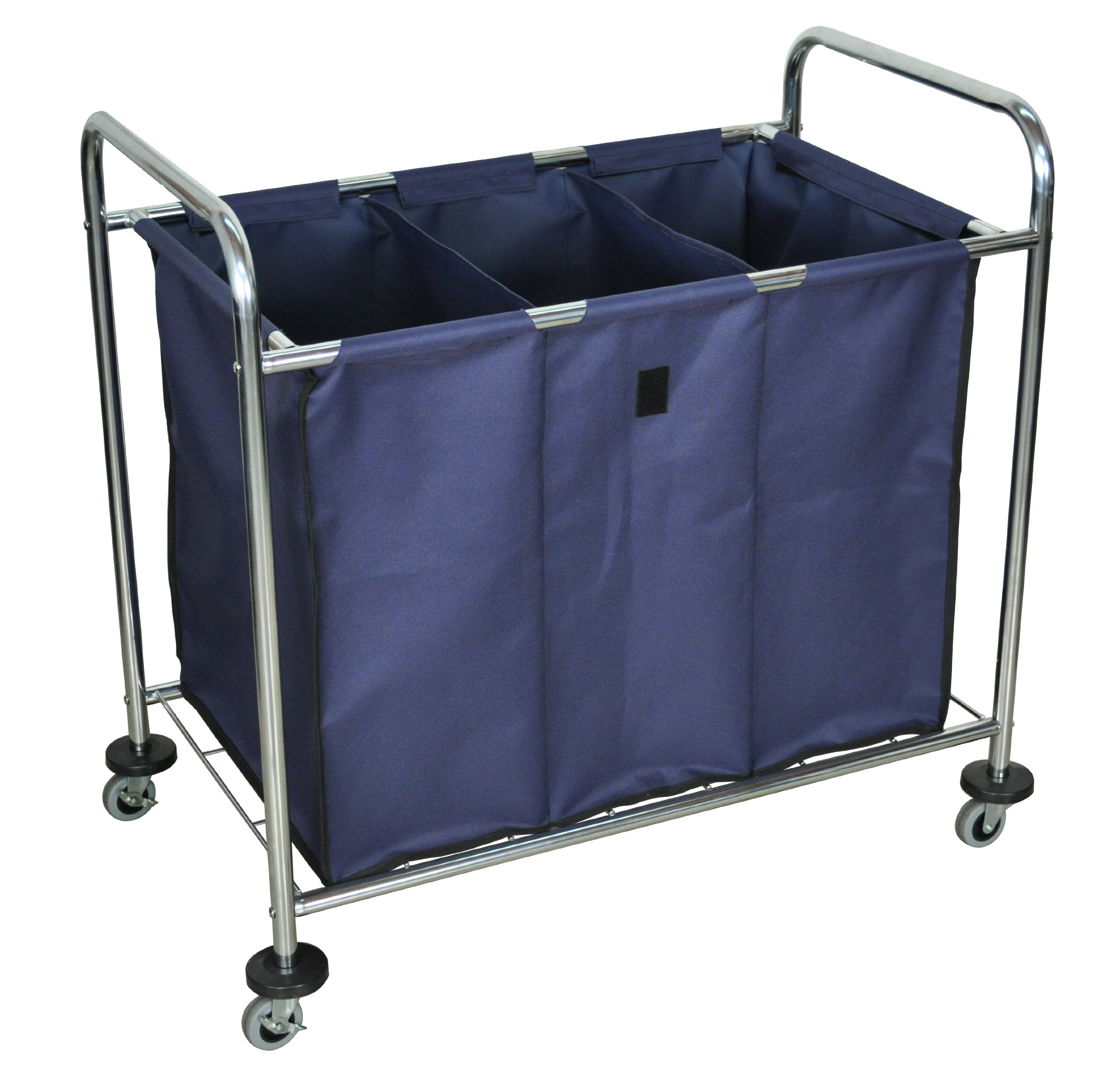 LUXOR HL15 Heavy Duty Industrial Laundry Sorter Cart with Triple Dividers by Luxor