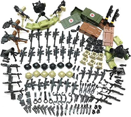 7 PCS WEAPON PACK Weapons Rifles for Lego Minifigure Camoflauge Series Guns