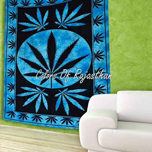 COR s Dye Washed Marijuana Weed Leaf Tapestry Twin Cannabis Tapestries Blue Hippie Leaf Wall Hanging Gypsy Wall Decor 55 x 85 Inches