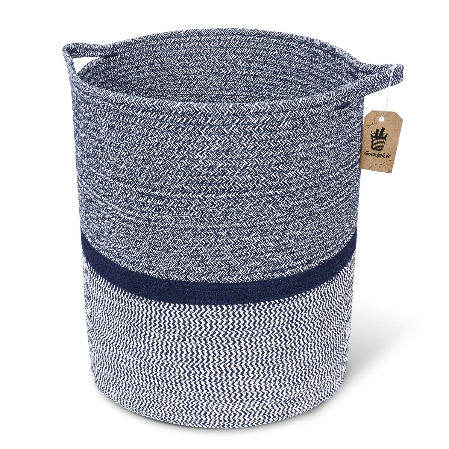 INDRESSME Large Cotton Rope Storage Basket Baby Laundry Basket Woven Baskets Blanket Basket with Handle for Diaper Toy Off White Home Decor 14.2'' x 13.4'' x 16.2'', Navy by INDRESSME