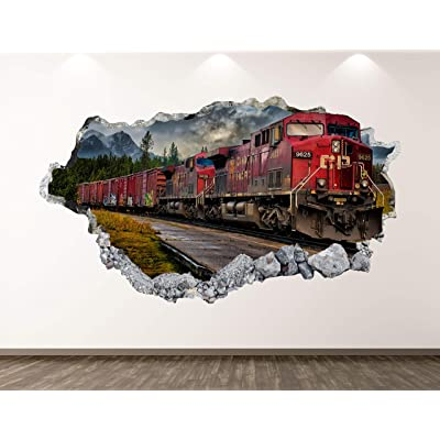 "West Mountain Old Train Wall Decal Art Decor 3D Locomotive Sticker Mural Kids Room Vinyl Custom Gift BL42 (22"" W x 14"" H): Home & Kitchen"
