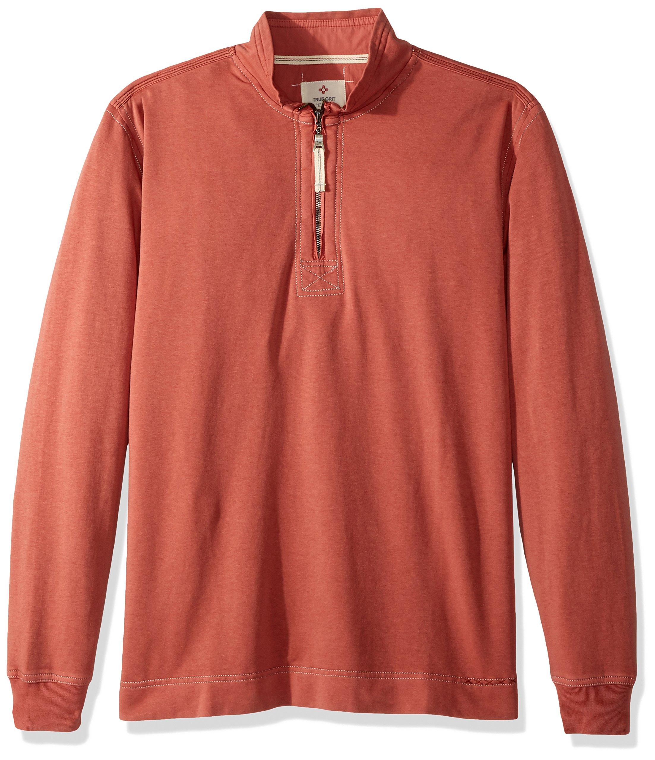 True Grit Men's Cotton Washed Heather Fleece Pullovers with Stitch Details, Brick/Zip Pullover, XXL