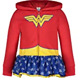 Warner Bros. Wonder Woman Girls' Full-Zip Lightweight Hoodie Tulle Ruffles