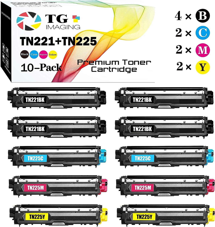 (10-Pack, Value Pack) TG Imaging Compatible TN221/TN225 TN-225 TN-221 Toner Cartridge TN221 TN225 Used for Brother HL-3140CW HL-3150CDW HL-3170CDW MFC-9130CW MFC-9340CDW DCP-9055CDN Printer (4B2C2Y2M)