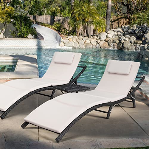 Devoko Patio Chaise Lounge Sets Outdoor Rattan Adjustable Back 3 Pieces Cushioned Patio Folding Chaise Lounge with Folding Table Beige Cushion