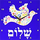 """3dRose dpp_58351_1 White Floral Dove of Peace with Hebrew Shalom Text Flowery Flowers Jewish Judaism Wall Clock, 10 by 10"""""""