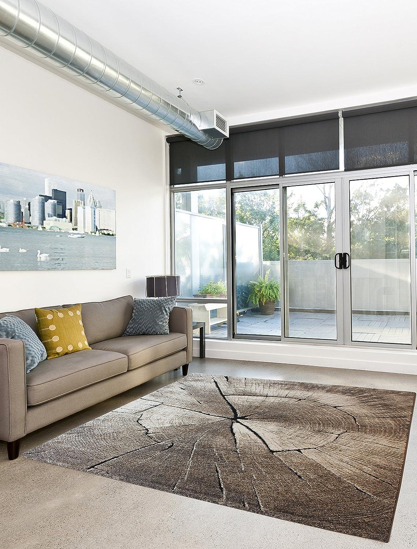 Anka Design Teppich Edler Wohnzimmer Teppich Modern Stein Optik Natur Farben - 200x290 cm - schadstofffrei - Grau Beige
