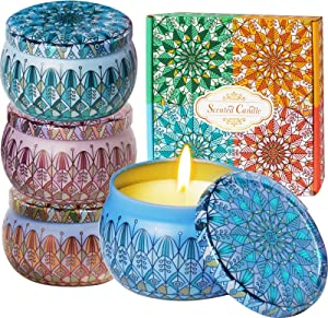 Luxury Scented Candles Gift Set-Candles for Home Scented,Natural Soy Wax Candles 4.4 Oz,Travel Tin Relaxing Candle with Strongly Fragrance Essential Oils for Aromatherapy,for Bath,Spa,Meditation