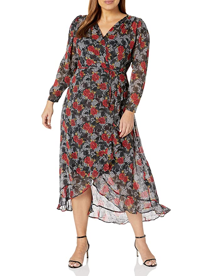 1930s Plus Size Dresses | Art Deco Plus Size Dresses City Chic Womens Apparel Womens Plus Size Flroal Floaty Hi-lo Dress with Wrap Tie Detail $124.93 AT vintagedancer.com