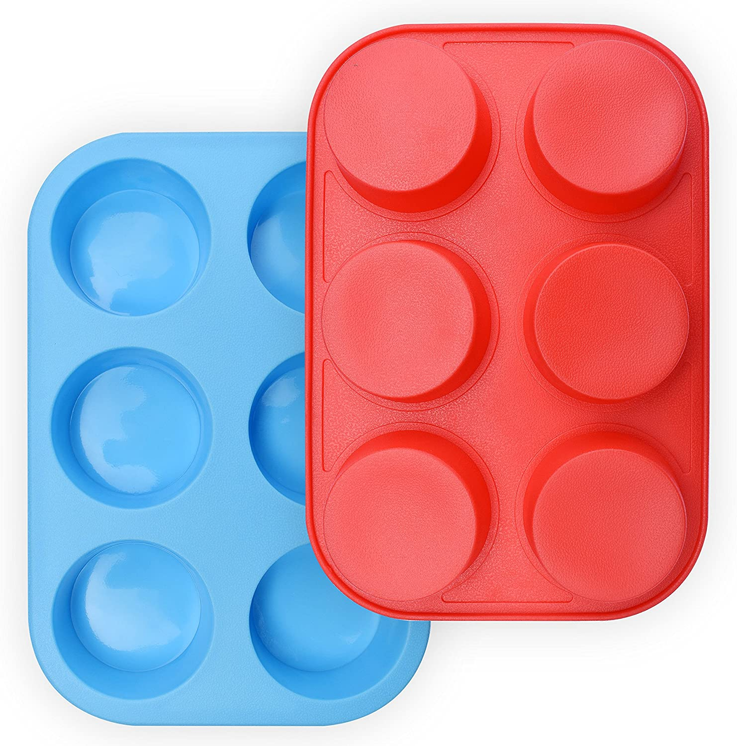 homEdge 6-Cup Silicone Muffin Pan, Pack of 2 Non-Stick Muffin Cupcake Molds-Blue and Red