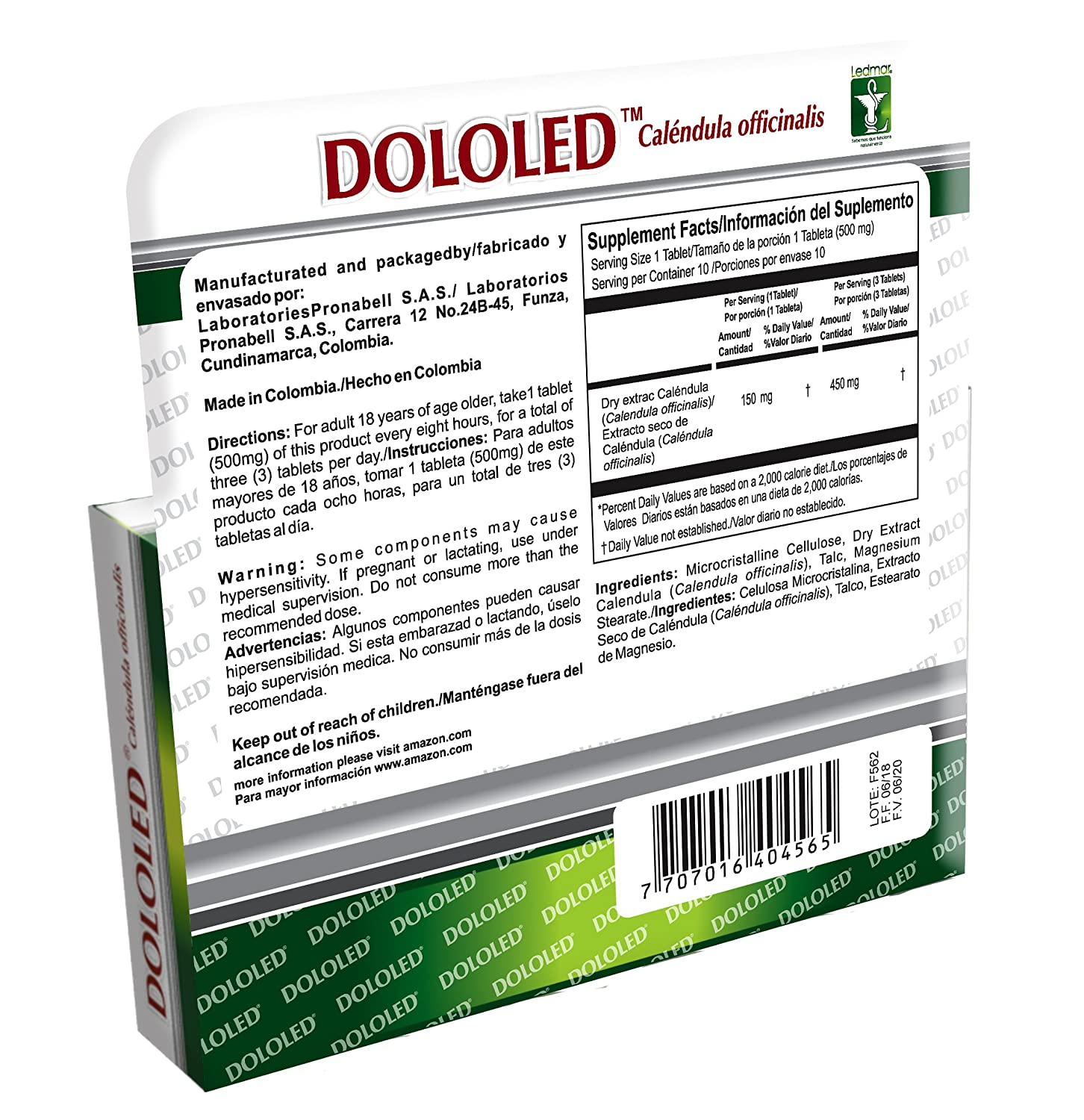 DOLOLED Calendula Officinalis 2 Pack (30 Tablets, Total 60 Tablets) 150 mg Each Tablet, for All Types of...