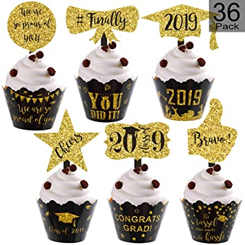 Graduation Cupcake Wrappers And Cupcake Toppers 2019 Graduation Cupcake Decorations For