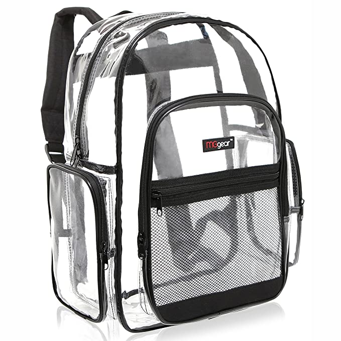 MGgear Clear Transparent PVC Multi-pockets School Backpack  Outdoor Backpack 6c6ed5d59bc73