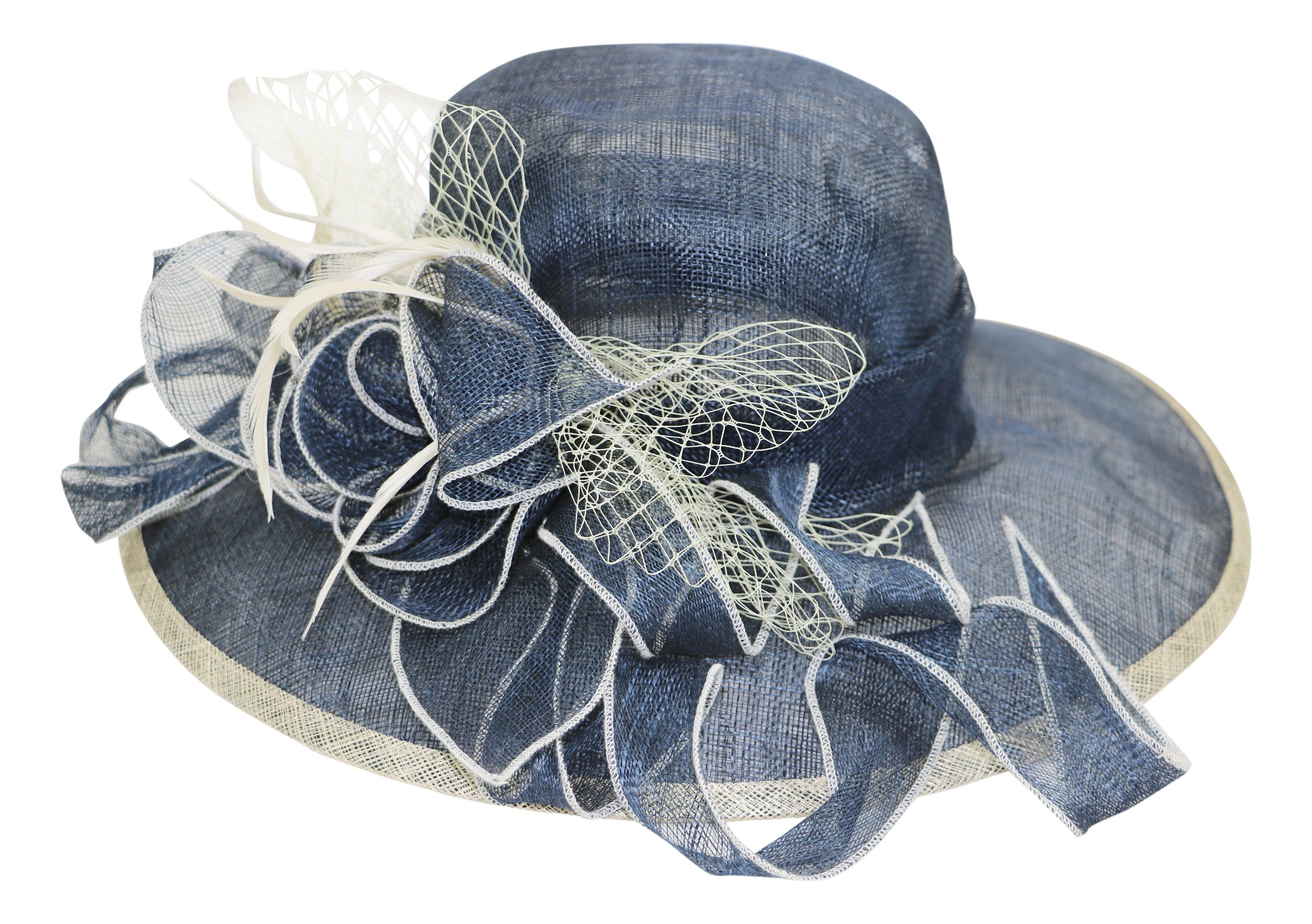 Fine Millinery by August Hat Co Bow & Feather Accented Mesh Straw Hat (Navy, One Size)