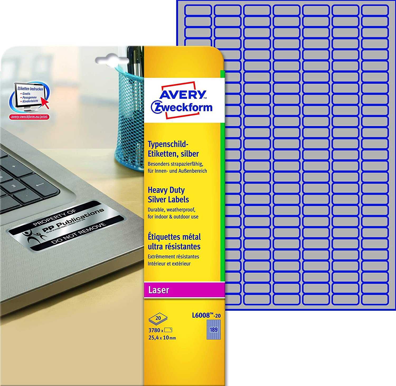 Avery Zweckform, L6008-20, Etichette ultra resistenti in poliestere per prodotti e dispositivi, 20 fogli, 25,5 x 10 mm Avery Tico Srl