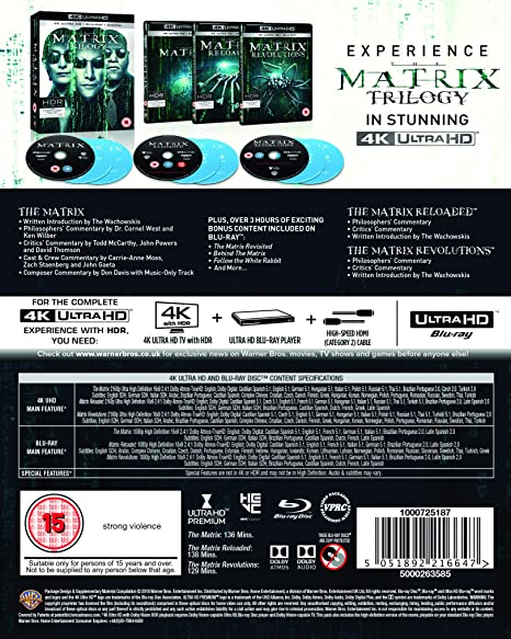 The Matrix Trilogy 9 Blu-Ray Edizione: Regno Unito Italia Blu-ray: Amazon.es: Keanu Reeves, Laurence Fishburne, Carrie-Anne Moss, Hugo Weaving, Gloria Foster, Joe Pantoliano, Marcus Chong, Julian Arahanga, Matt Doran, Belinda McClory, Lana