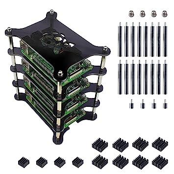 Jun_Electronic Para Raspberry Pi 3 b+ Caja, Carcasa gris acrílica de 4 capas con Ventilador Disipadores de Calor para Raspberry Pi 3 Modelo B+ Plus