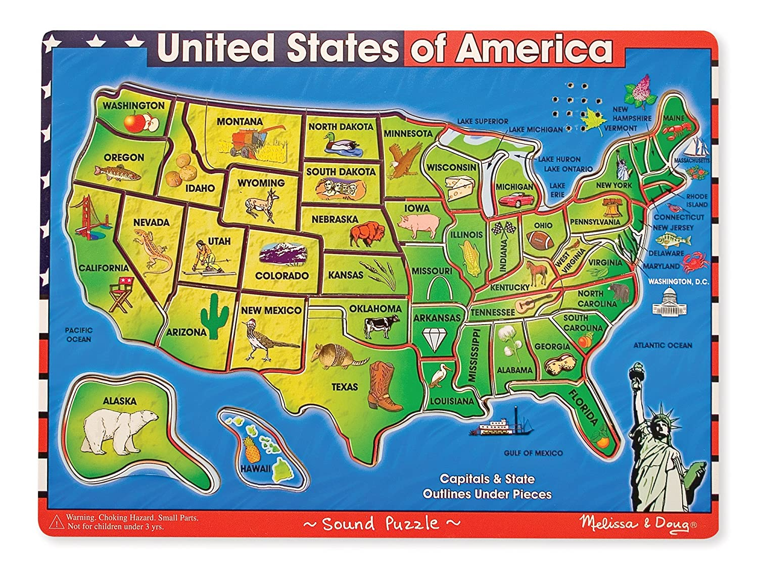Amazon.com: Melissa & Doug USA Map Sound Puzzle - Wooden Puzzle With ...