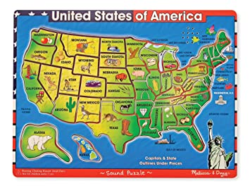 Amazoncom Melissa Doug USA Map Sound Puzzle Wooden Puzzle - Us map game puzzle