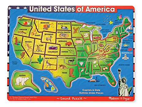 Amazoncom Ryans Room USA Map Puzzle Toys Games United States Map - Us map with states and capitals labeled printable